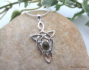 Celtic, elvish,  labradorite necklace, precious stone necklace, celtic jewelry, elvish jewelry, labradorite jewelry, french hand made
