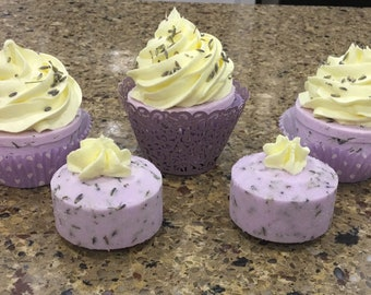 Lavender and Lemon Bath Bomb Cupcake With Whipped Soap Frosting Perfect for Mother's Day