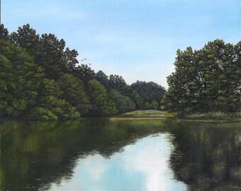 Original landscape oil painting, Summer Reflections
