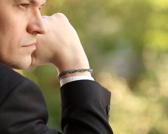 Mens jewelry men bracelet Chainmaille oxidized sterling silver bracelets for men - Men fashion sexy man male bracelet dna bracelet - Chronos