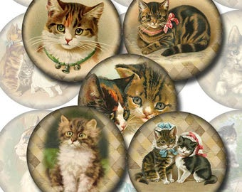 KiTTENS CaTS FeLINES- Vintage Art 2.5 inch Circles for Crafts, Magnets - INSTaNT DOWNLoAD - Printable Collage Sheet JPG Digital File