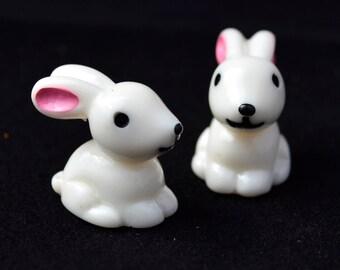 4 PC White Bunny Miniature Garden Plants Terrarium Doll House Ornament Fairy Decoration AZ7987