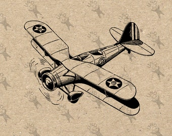 Airplane Aircraft Aviation Digital printable retro drawing vintage Instant Download clipart graphic transfers iron on burlap paper HQ 300dpi