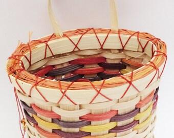 Woven Wall Pocket, Orange Purple, Yellow, Orange, Cream, Wall Basket