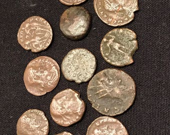 Ancient Roman coins in nice condition from around 400 AD. Beautiful ancient coins made from bronze.