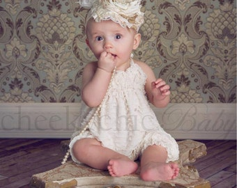 Ruffle Romper IVORY -by Cheeky Chic Baby