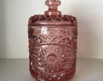 Imperial Glass Co. Azalea Pink Hobstar Cookie Jar