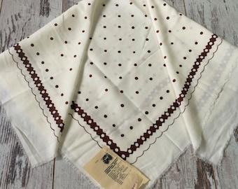 Vintage shawl, Soviet shawl, Vintage polka dot shawl, USSR shawl, Head shawl, Women shawl, Ivory shawl, cotton shawl