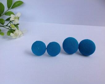 Handmade Blue Fabric Button Earrings