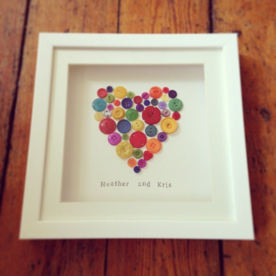 Button Heart Frame - ideal Wedding, Engagement, Wedding or Anniversary Gift - can be personalised