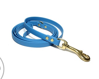 """Caribbean Blue Biothane Leash - 1/2""""  (12mm) Wide - Small Dog Leash - Choice of hardware & length 4ft, 5ft, 6ft (1.2m, 1.5m, 1.8m)"""