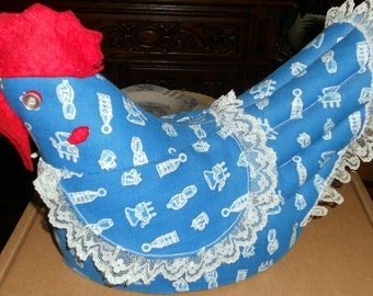Vintage Mid-Century Handmade Blue Material and Lace Stuffed Chicken or Hen, Country Farm Decor, 10 inches X 8 1/2 Inches