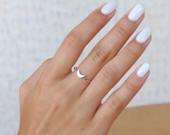 Tiny Moon Ring, Silver Moon Ring, 925 Sterling Silver, Horizontal Tiny Moon