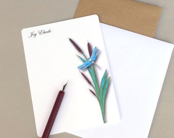 Personalized Note Cards, Custom Flat Note Cards, Personalized Stationary Set, Stationery Set, Writing Set, Dragonfly & Cattails, Garden Card