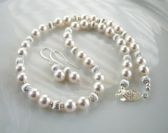 White Pearl Necklace Set made with Swarovski Elements Crystal Pearls White Pearl Wedding Necklace (17.25 inches)