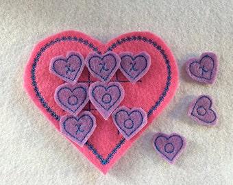 Heart Tic Tac Toe Embroidery Design