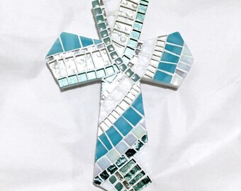 CHRISTIAN WALL DECOR, Wall Cross, Large Decorative Cross, Aquamarine, Religious Home Decor, Baptism Gift, Housewarming Gift, Nursery Room Cr