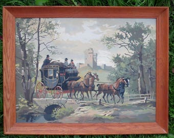 Vintage Horses Carriage Coachmen Castle Paint By Number Painting Large Framed 27 x 21 Inches 1950s