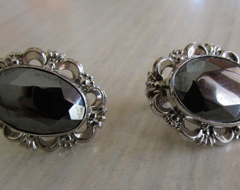 Sterling Silver and Faceted Hematite Oval Screw On Earrings