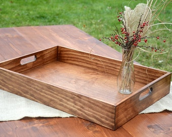 Everyday Rustic Solid Wood Tray Farmhouse Breakfast Ottoman Serving Coffee Table Tray