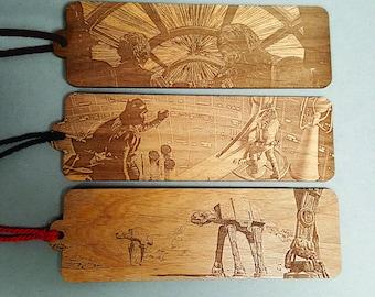 Star Wars Scene Bookmark with Tassel - Laser Engraved Wood - Battle of Hoth Hyperdrive Luke Darth Vader