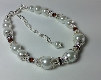 White Pearl and Crystal Topaz Bridesmaid Bracelet