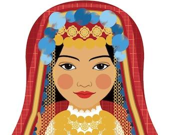 Tunisian Wall Art Print features cultural traditional dress drawn in a Russian matryoshka nesting doll shape
