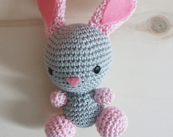 Tina, crochet bunny Amigurumi bunny for children. gift idea fon children and to collect. Pink bunny to gift. baby safe. stuffed puppet