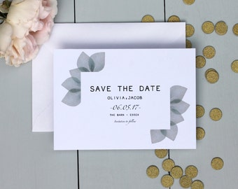 Floral Wedding Save The Date Card, Botanical Wedding Save The Date Invite, Eucalyptus Wedding Save The Date Card