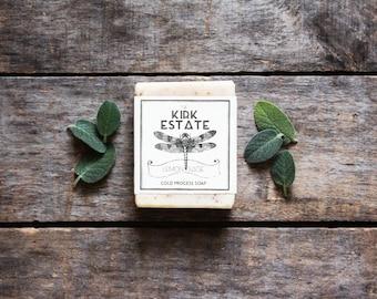 Lemon Sage, large bar, bar soap, cold process soap, organic ingredients, vegan soap, natural soap, lightly scented, herbal soap, artisan