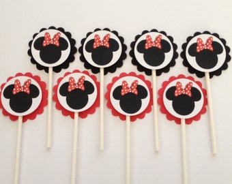 x24 Minnie Mouse Red Bow Inspired Cupcake Toppers
