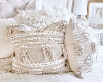 Bohemian Fringe Accent Pillow in Cream - 20X20