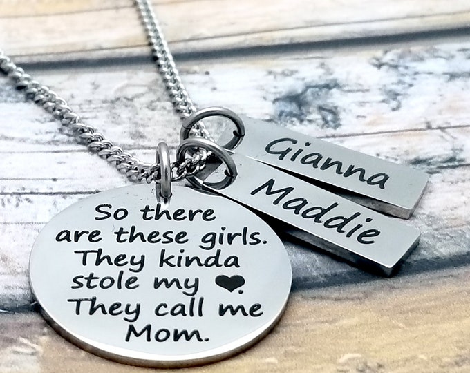 These Girls Stole My Heart Personalized Pendant Set, gift for mom, mothers day, customized, necklace, stainless steel