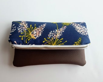 Small Fold-Over Clutch - Pouch- Bag - Handbag - Brown and Blue Floral