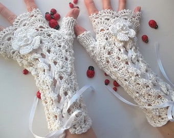 Crocheted Cotton Gloves L Ready To Ship Victorian Fingerless Summer Women Wedding Lace Evening Knitted Bridal Party Ivory Corset Opera B51