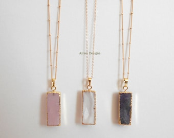 Gemstone Bar Necklace, Gemstone Necklace, Bar Necklace, Rose Quartz, Amethyst, Crystal Necklace, Bridesmaid Gift, Long Necklace, Boho