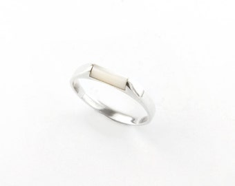 Minimalist White Pearl Sterling Silver Ring