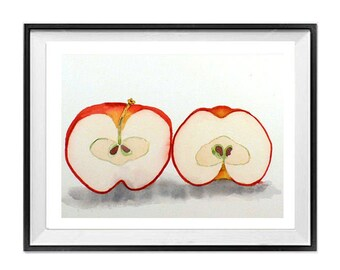 Fruit Print, Apple Art, Print, Watercolor, Red and White, Painting, Healthy, Fruit art prints Nature prints, Farmhouse, Wall art