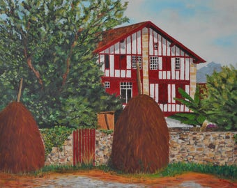 Original oil painting of a House basque-France-painted by hand Original oil painting of a Basque house-France-hand painted