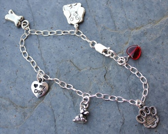 Love My Puppy Dog Silver Charm Bracelet - red glass heart, bone, paw print, puppies -Free Shipping USA