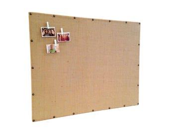 Large Burlap Bulletin Board / Burlap Magnet Board / Burlap Message Board / Brass Accents