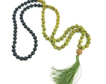 Boho Style Lava Stone & Black Onyx Beaded Mala Necklace with Green Tassel