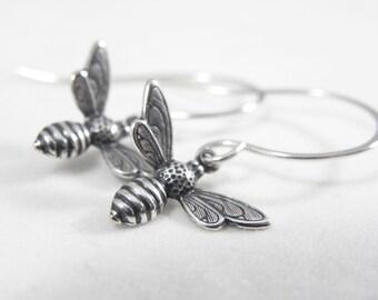 Bee Earrings- Bee- Bee Jewelry- Honey Bee- Minimal Silver Earrings- Minimal Jewelry- Luna Jewelry