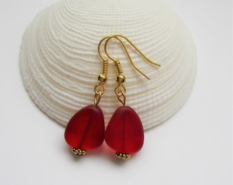 New Red Cherry Beach Glass Earrings,Red Seaglass Earrings,Red Seaglass Jewelry,Red Sea Glass Earrings. Sterling Silver Option. FREE SHIPPING