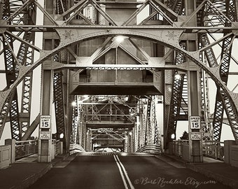 Canal Bridge at Night - Duluth - City Photography - Fine Art Print - 8x12 Print - Minnesota - Lines - Iron -Film Look - Black & White
