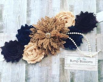 Brown and Navy Maternity sash, Fall Brown Maternity Sash, Boy Maternity sash, mom to be maternity sash for baby shower