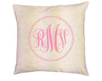 Custom Monogram Pillow Covers (Style: Stitch)  43 color options