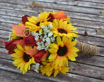 Fall Wedding Bouquet, Sunflower Wedding Bouquet, Rustic Wedding, Bride, Bridal Bouquet, Sunflower Wedding, Fall Leaves, Wedding Flowers