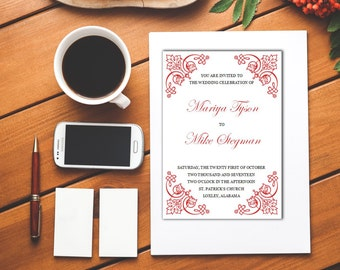 Printable Wedding Invitation Template, Edit Yourself, Easy DIY, Word File, All Colors, S003-1