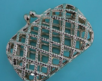Vintage Coin Purse -  Gold Tone Cage Purse